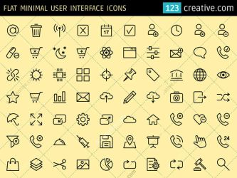 Flat Minimal User Interface icons (EPS, PNG, SVG) by 123creative