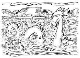 Monster a Day Art Challenge: 17. Sea Serpent by Granitoons