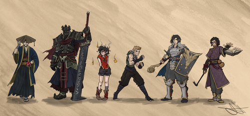DnD Commission Full Party with DM by Skyserpent