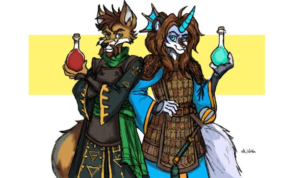 Lord Fenrir and Ahna Azurehorn - Battle Couple by TheLivingShadow