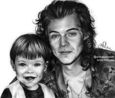 Harry Styles x2 Pencil Drawing by Anna Nilsson by nilssondrawings