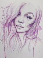 Watercolor Painting - Mykie (Glam and Gore) by tbh-annie