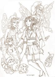 Janin Snow with their Digimon Falionmon... by sunnight1