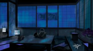 Japanese room at night by RiknaMyoneArt