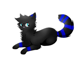A black cat with some blue stripes by Casper3703
