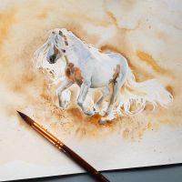 Watercolor horse by NillaMustikka