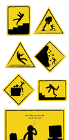 The man in the caution signs by Nicartoons