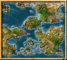New blankmap of a fantasy world by Sedeslav