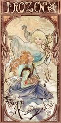 Frozen in the Style of Alfons Mucha by YarTzana-Serenade