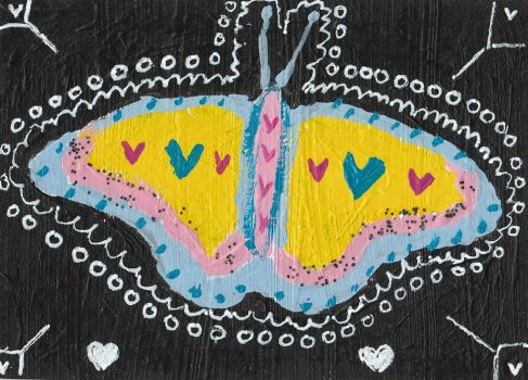 PoP Art abstract  acrylic painting butterfly by tulipteardrops