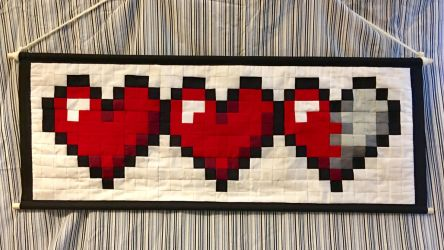Pixel Patchwork Tapestry + Two and Half Hearts + by LadyJuxtaposition