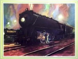 Otto Kuhler Railroad Art - Night Scene by PRR8157