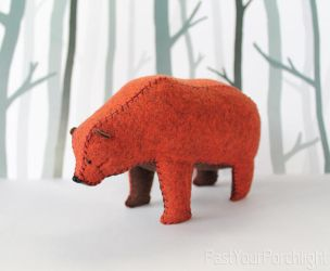 Brindle Grizzly Bear Soft Sculpture by PastYourPorchlight