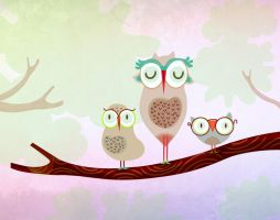 Mother owl and children by mjdaluz