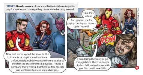 Twisted Tropes - Hero Insurance by MikeHowland