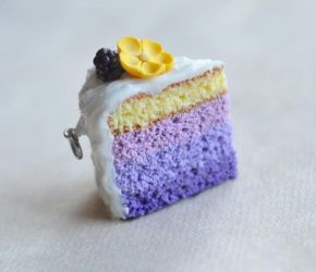 Blackberry Buttercup Purple Ombre Mini Cake Charm by ScrumptiousDoodle