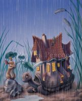 Turtlehouse in the Rain by Red-Clover