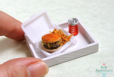 1:12 Cheeseburger and French Fries by PepperTreeArt