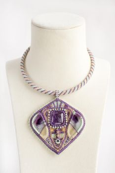 Lavender Dreams - beaded necklace with gemstones by nayanavi