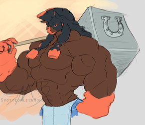 Doodle - Mudsdale Anthro by SpottedAlienMonster