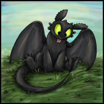 Silly Toothless by Dragowl