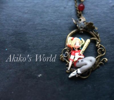 Harley Quinn Necklace - Polymerclay Pendant by Akiko-s-World
