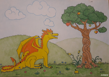 The golden dragon and the apple tree by IVISEK