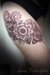 maroon mandala tattoo by aliceinsane