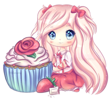 White Chocolate Strawberry Cupcake by Milavana