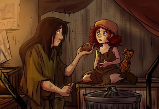 Jack and Lettie - Sharing food by Sio64