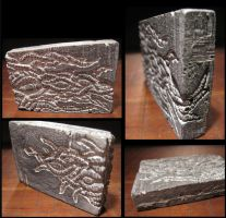 Sunk Relief Tentacle Tablet cast resin sculpture by CopperCentipede
