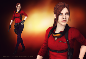 Claire Redfield sniper with ponytail wallpaper by VickyxRedfield