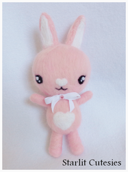 Needle Felted Pink Bunny Plush by StarlitCutesies