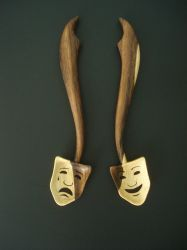 'Comedy and Tragedy' wooden spoons by Sp00ntaneous