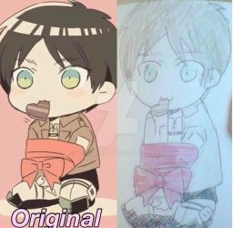 My first Eren Jeager chibi copy by Rushia-san