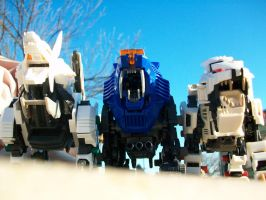 Zoids: Shieldy, Zero, Konig by Bloodthirstwolf