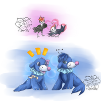Popplio and Pikipek friends ::Art Trade::
