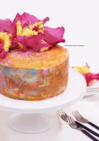 Watercolor and gold leaf cake with gladiolus by theresahelmer