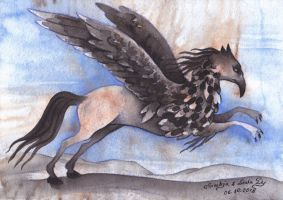 Inktober18 Day6: Hippogryph (collab) by LualaDy