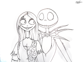 Jack And Sally Lineart by WolfsNightSong