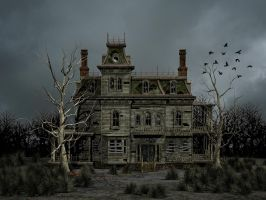 Haunted House Premade Background by Roy3D