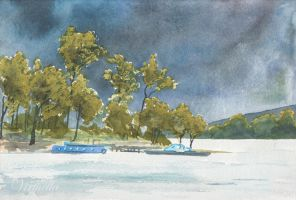 Blue Boats on Loch Lomond by Virtuella