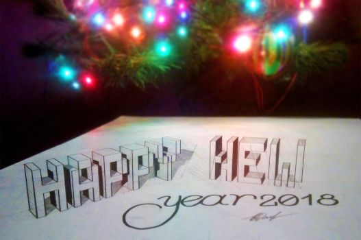 3D drawing. Happy New Year by EvgenyS