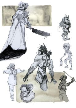 gray pencil characters 4 by Sally-Avernier
