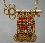 Steampunk Key Necklace (red) by LissaMonster