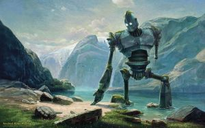 Abandoned Iron Giant At Lake In Swiss Mountains by fantasio