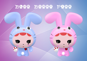 Blue and Pink Bunny by Jet-Stream