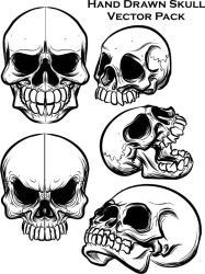 hand drawn skull vector pack by ragingcephalopod