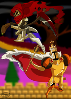 Specter Knight And King Knight/Shovel Knight by ShoutaTheLunatic