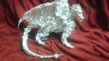 Frost Dragon - Aluminum Foil Sculpture by TheFoilGuy